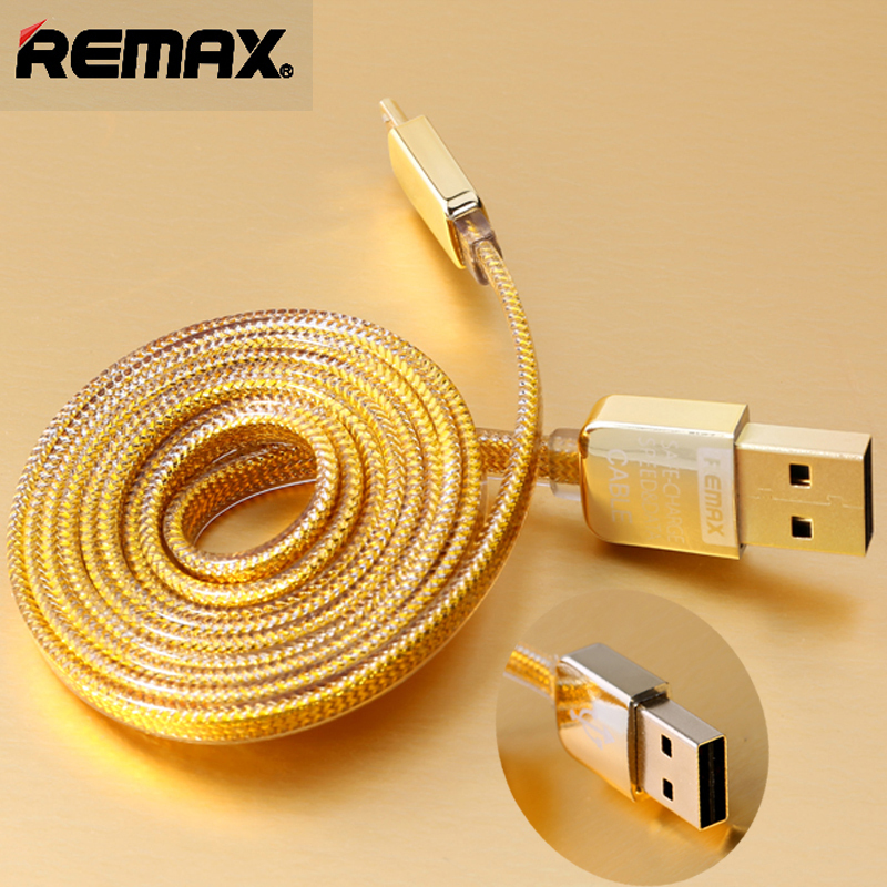 Remax Gold Braided Micro 8Pin USB Data Sync Charge Cable Cord for iPhone 5 6 Plus iPad Samsung Galaxy LG HTC and More Android(China (Mainland))