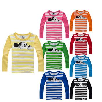Осень зима 100% хлопок дети майка мультфильм мышь с длинным рукавом мальчиков девушки футболка детей пуловеры Tee мальчики одежда