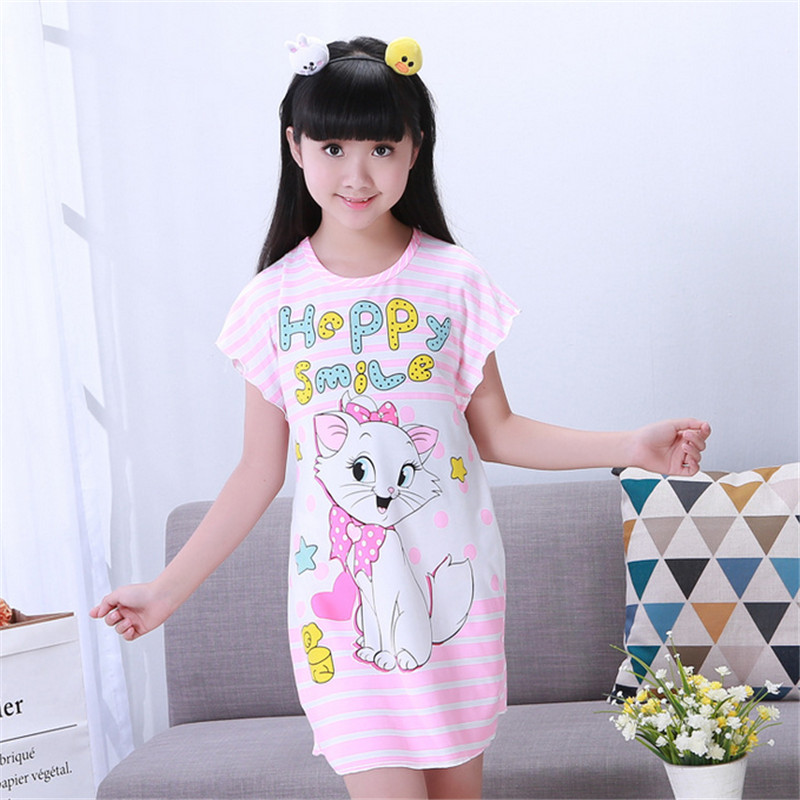 Girls Nightgown Cotton Girls Sleepwear Short Sleeve Children Nightgown Kids NIght Dresses Girls Pajamas Dress(China (Mainland))