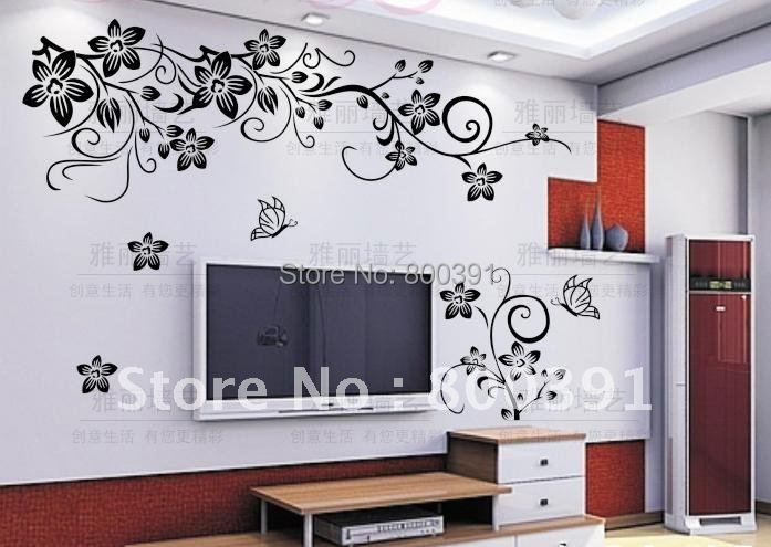 free shipping removable wall stickerbutterfly vine flower