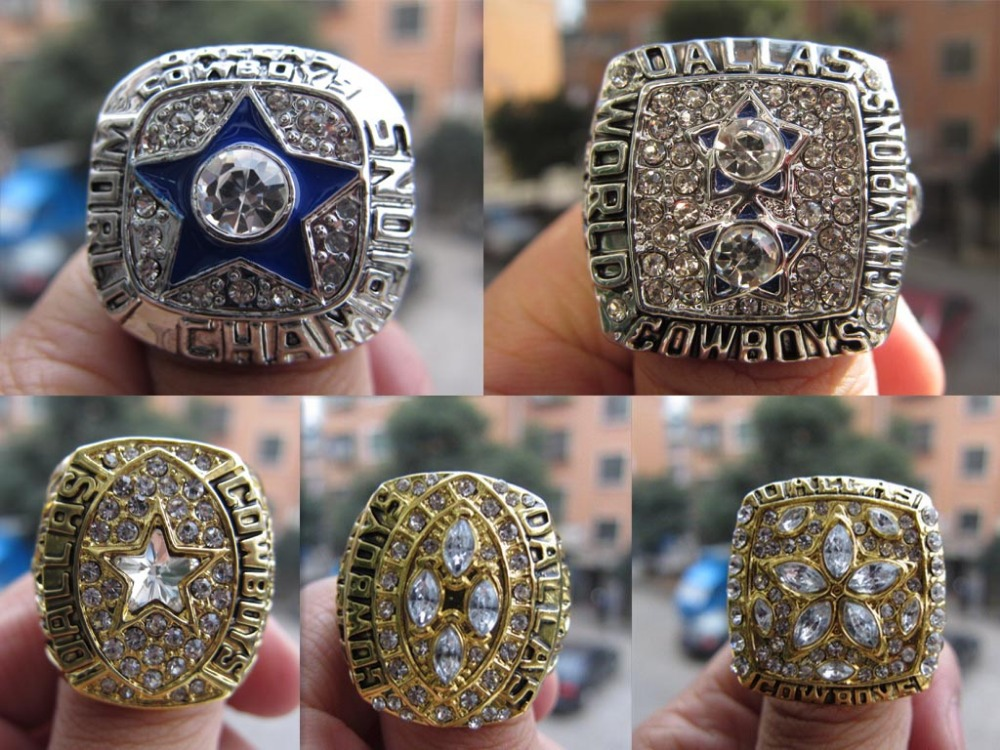Free Shipping 1971 1977 1992 1993 1995 Dallas Cowboys Superbowl Championship Ring five together sport fan gift football ring(China (Mainland))