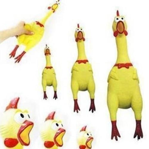 Гаджет  2015 New 17CM Yellow Screaming Rubber Chicken Pet Dog Toy Squeak Squeaker Chew Gift  None Игрушки и Хобби