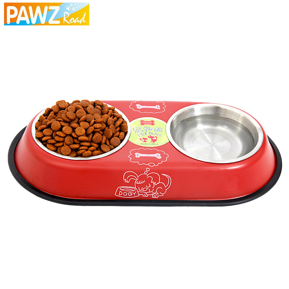 Free Shipping Stainless Steel Big Double Bowl Feeder Dog Drinking Easy Take Food Water Feeder Bowl Cat Foods Bowl 2Colors(China (Mainland))