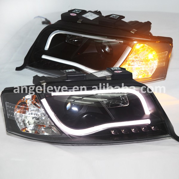 For Audi A6 LED Head Light with projector lens front light for A6 head lamp1997--2004year Black housing SN(China (Mainland))