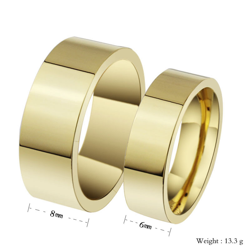 Plain Surface Gold Or Black Couples Matching Stainless Steel Wedding Band Set Ring 6mm 8mm