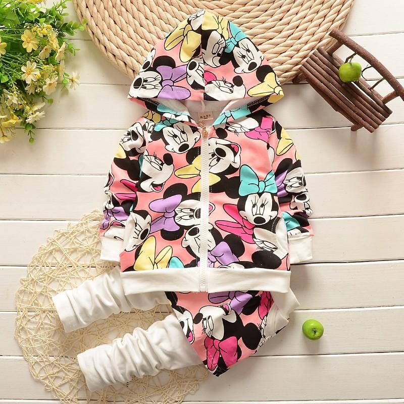 Одежда для девочек детские толстовки Минни наборы детей Одежда для девочек весна детские спортивные костюмы Спорт костюм девочек к 2015 году