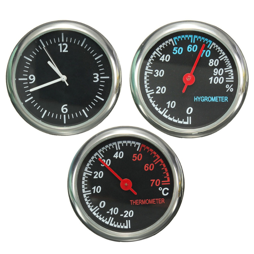 12V Mechanics Thermometer Hygrometer Clock Time Steel Core Pointer For auto car(China (Mainland))