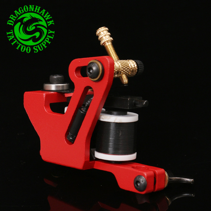 Professional Handmade Tattoo Machine For Liner And Shader Red Color 10 Wrap Coil Tattoo Gun Supplies Free Shipping(China (Mainland))