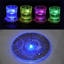 Free Shipping LED Light Color Changing Drink Glass Bottle Cup Coaster Mat Bar Party Xmas Gift (China (Mainland))