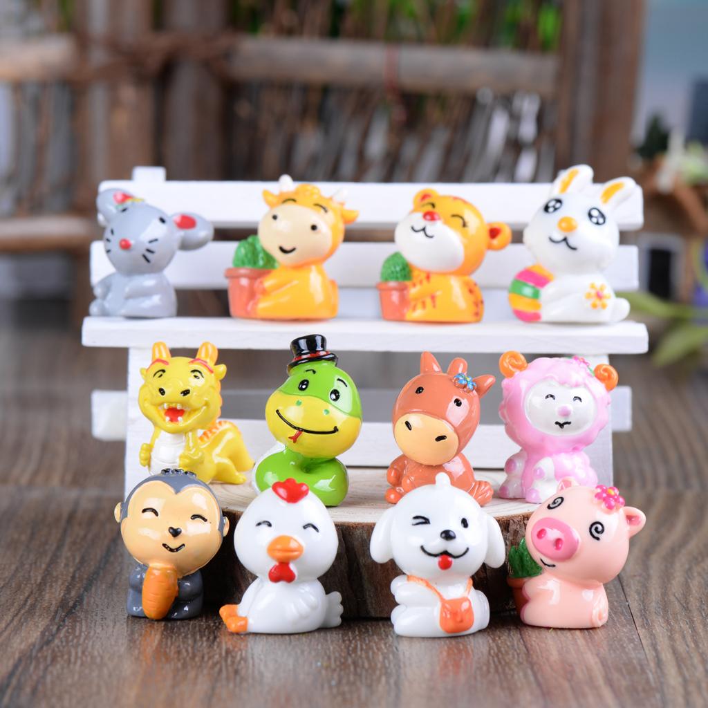 Miniature Dollhouse Fairy Garden Accessories 12pcs Chinese Zodiac Animals for Mini Landscaping Dollhouse