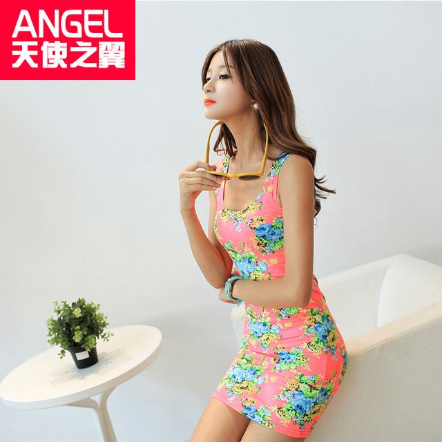 Лето весна новое дизайнер сексуальные 2016 рукавов о-образным шею цветочные выше колена краткости длины Bodycon женщин распечатать танк платье продажа