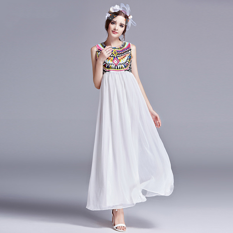 Women Indian Ethnic Printed Geometric Embroidery Bohemian Maxi Dress 2015 Summer Stitching Pleated Beach Party Chiffon Dresses - Biovan_china's store