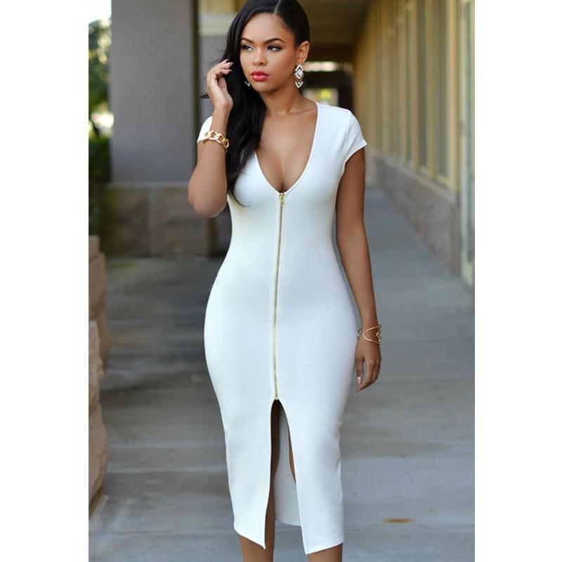 2016 plunge v-neck Slim Bodycon Elegant Party Dress Gold Zipper Front Short Sleeve Pencil Midi Summer Sexy Club Wear - KING FASHION DRESS CO.,LTD store