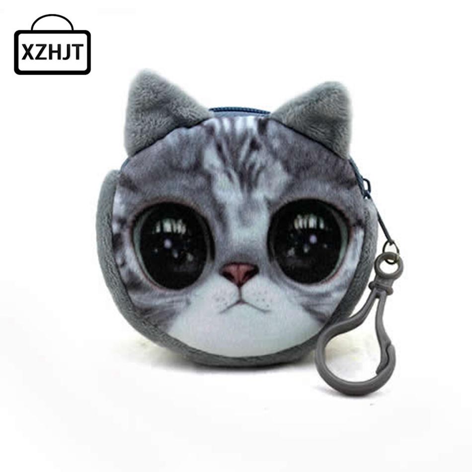 11 Style Mini 3D Cat Plush Coin Purse Animals Prints Zipper Wallets Harajuku Children Bag Women Billeteras Cute Monedero Gato(China (Mainland))
