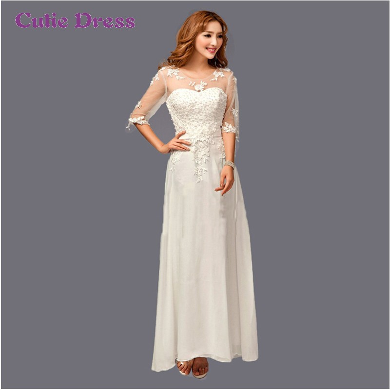 New 2015 ivory wedding dresses appliqued bridal gown for Wedding dresses with three quarter length sleeves