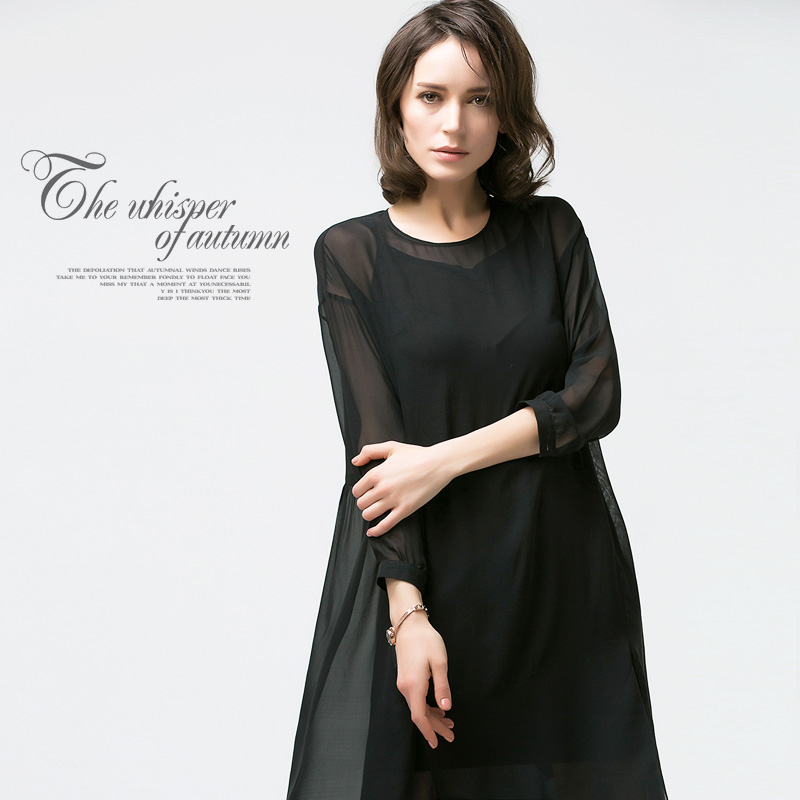 Quality Pure Silk Dress 100% Mulberry Silk Women Sexy Plus Size One Piece Dresses M L FREE SHIPPING(China (Mainland))
