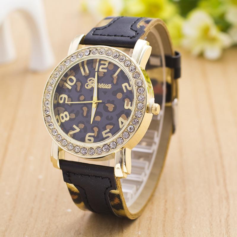 New Wristwatch 2015 Fashion Leopard Print Rhinestone Watch Women Ladies Watch relojes relogio Hote Sale(China (Mainland))