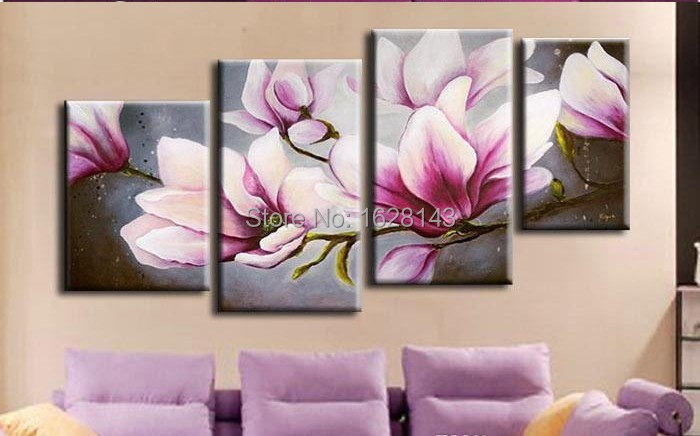 art buyers modern abstract landscape flower art deco oil paintings Home Decoration Living Room Wall Pictures pink artwork4p36(China (Mainland))