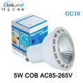GU10 COB LED 220V 110V LED Light Bulb 5W AC85 265V Spotlight Cold white Warm White