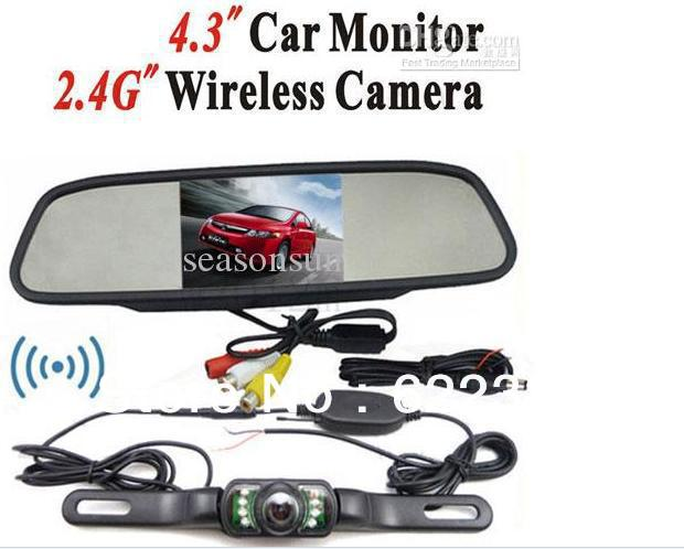 "Wholesale - 4.3"" Car RearView Mirror TFT LCD Monitor Wireless Waterproof Reverse Parking Backup Camera Kit"