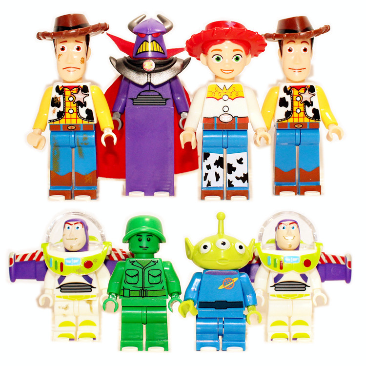 8pcs TOY STORY 4 Mr Potato Head Jessie Woody Buzz Lightyear Alien Assemble DIY Minifigures Model Building Blocks Kids Toys(China (Mainland))