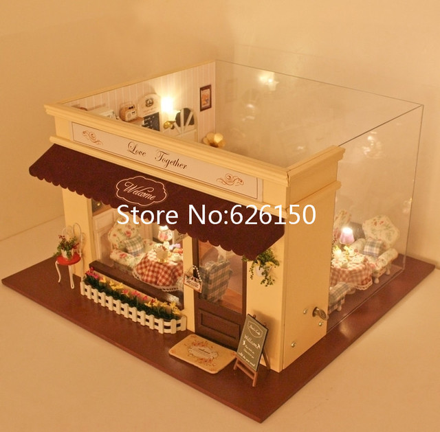 DIY wooden doll house miniatures for kids, wood house kits for doll, doll home set for kinds lovely coffee shop