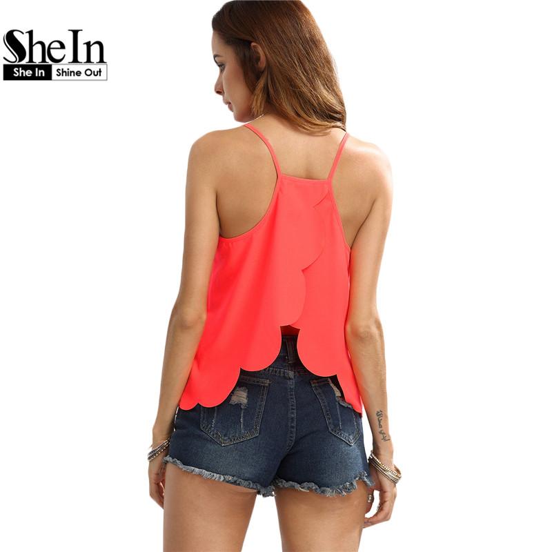 SheIn Plain Orange Spaghetti Strap Scaoolped Hem Casual Cami Top Womens Sexy Summer Beach Wear Fashion Camisoles(China (Mainland))