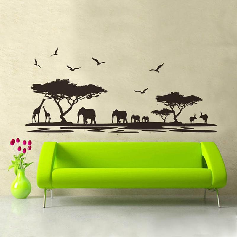 New Fashion <font><b>African</b></font> Animals Wall Sticker Mural <font><b>Home</b></font> Decal Removable Art Vinyl Room <font><b>Decor</b></font> DIY
