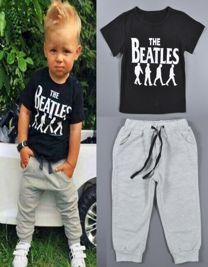 Beatles 2015 Children Boys Clothing suit Letter character pattern gray T-shirt+boy pants 2pcs sets chao Fan children Clothing<br><br>Aliexpress