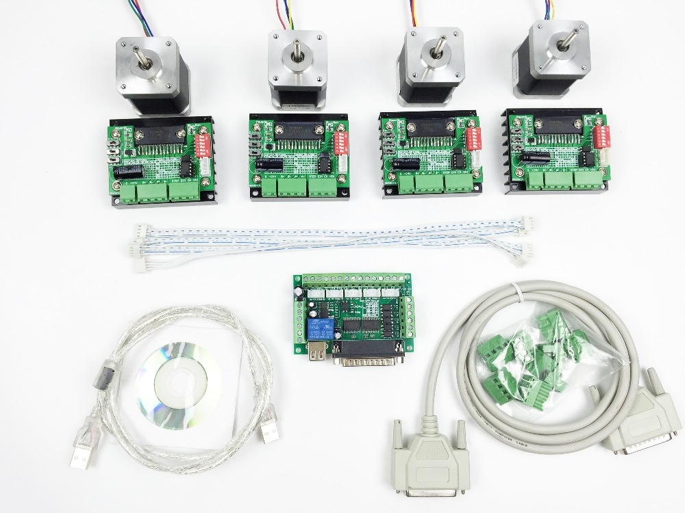 Cnc router mach3 4 axis kit 4pcs tb6560 driver 5 axis 4 axis stepper motor controller