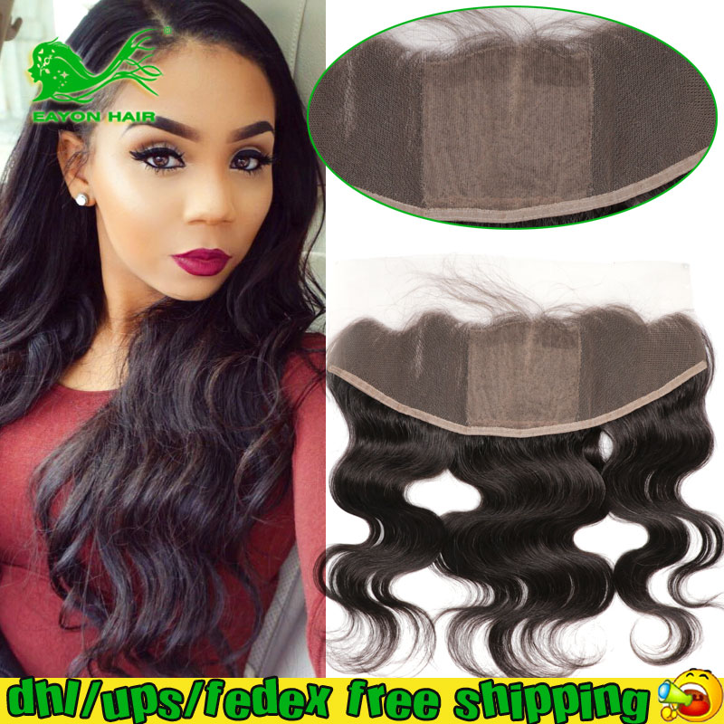Фотография 13x4 Virgin Brazilian Body Wave Human Hair Lace Frontals Silk Top 4x4 Free Part Lace Frontal Closure Silk Base with Baby Hair 7A