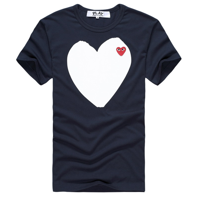 Free shipping Amland love play NWT COMME Des GARCONS CDG PLAY Big eye short sleeve t shirts white heart tshirt 100% cotton(China (Mainland))