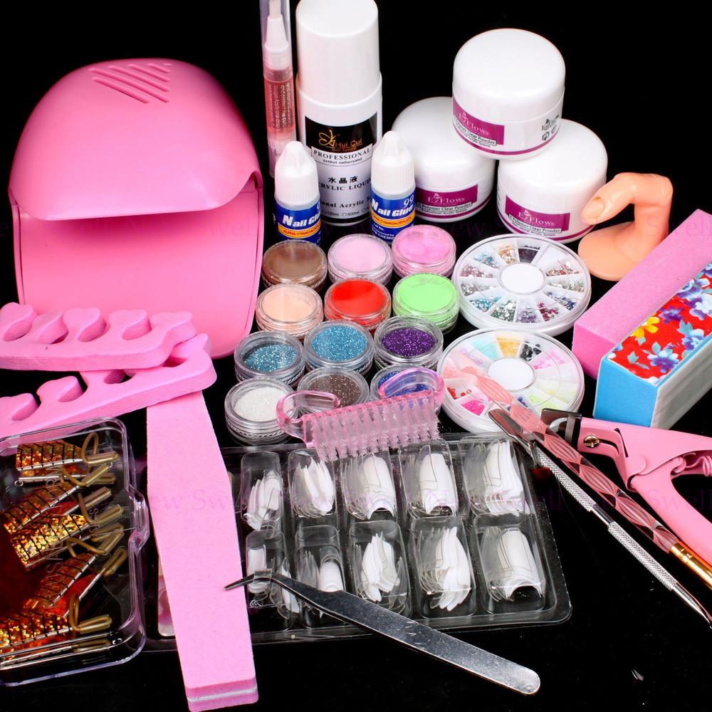 25 in 1 nail art set dryer diy nail art decorations kit brush buffer acrylic glitter powder. Black Bedroom Furniture Sets. Home Design Ideas