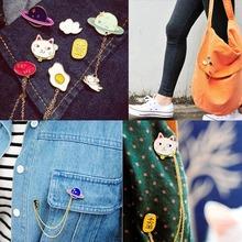 YANTU 2015 New Women Girl Accessories Fashion Cute Egg Cat Moon Rabbit Chain Brooch Badge Pin Collar brooch Jewelry Gift