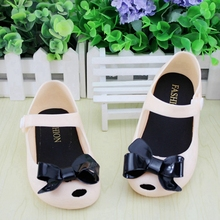 Korean Mini Melissa kids Sandal Bowtie Soft Sole Mini Melissa shoes Candy Color Cute Cat Sandals For Girls Summer TX41
