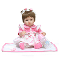 New 18 inch 42cm NPK Reborn Baby DOLL pink princess dress Soft Silicone Realistic Handmade Newborn