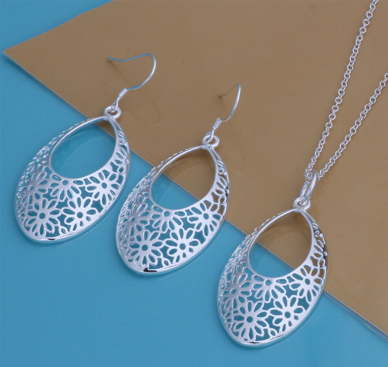 silver womens necklace earring jewelry sets Bridal Jewelry Sets Silver Wedding Accessories Bijou YAT097 - Sunny group store