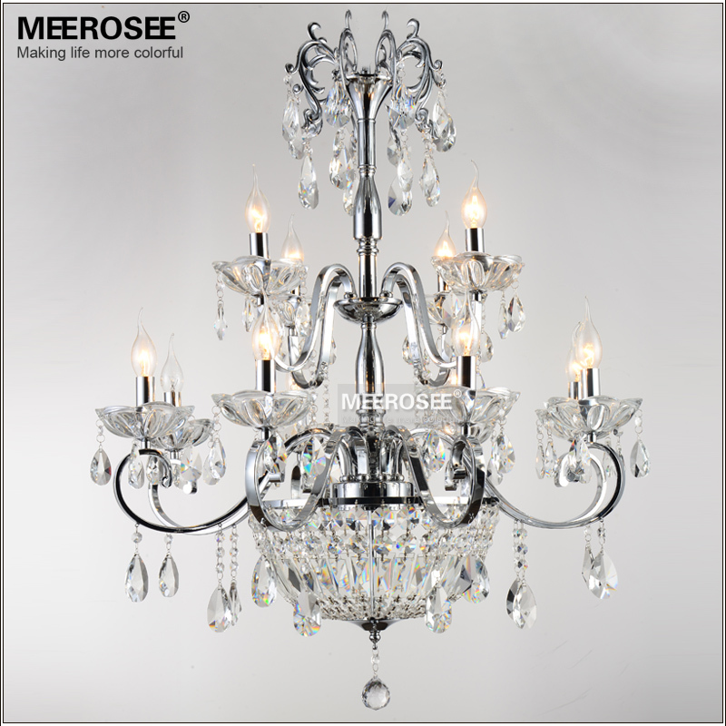 Wrought Iron Crystal Chandelier Light Fixture 2 tiers 12 E14 or E12 Lights  Crystal Lustre Lamp Chandelier Lighting<br><br>Aliexpress