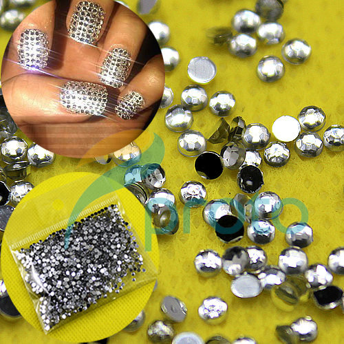 20,000pcs 2.0mm CLEAR ROUND RHINESTONES NAIL ART diamante crystal GEMS DIAMOND 3d Nail Art Decoration SKU:D0198