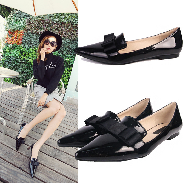 New spring shoes bow shallow mouth female paint flat with shoes pointed fashion shoes tide