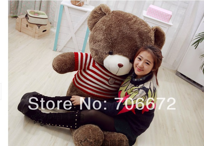 New stuffed red stripes sweater teddy bear Plush 150 cm Doll 59 inch Toy gift wb4255(China (Mainland))