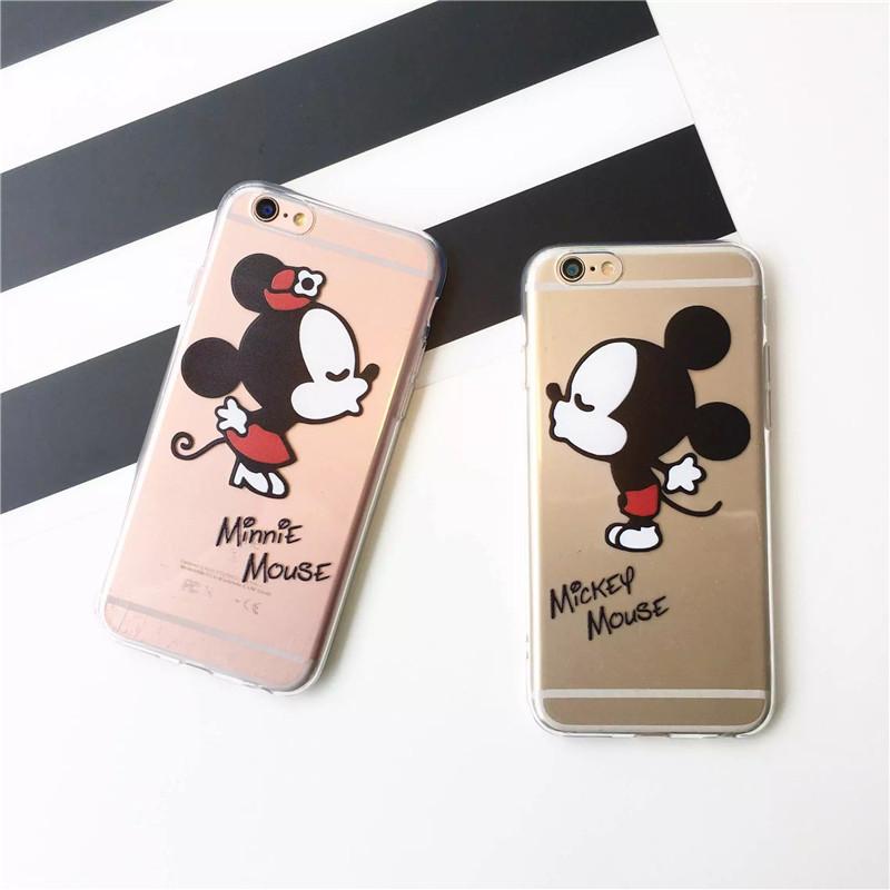 Cute Mickey Mouse Minnie Kiss Soft TPU Clear Phone Case Cover Coque Fundas iPhone 7 7Plus 5 5S 6 6S 6Plus SE 5C 4 SAMSUNG S7