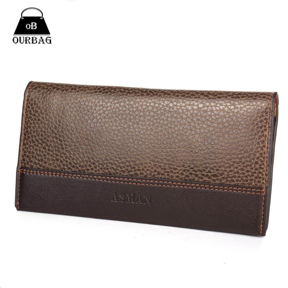 Famous Mens Brand Wallet High Quality Leather Man Wallet Photo Card Holder Long Purse  khaki Color Business Mobile Pouch Designs<br><br>Aliexpress
