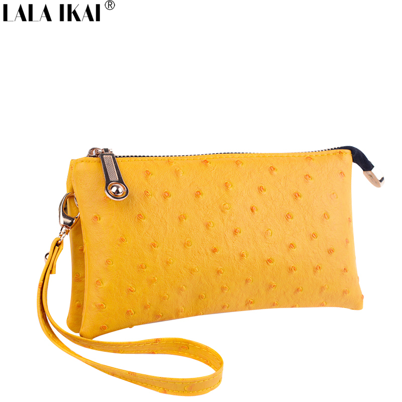 LALA IKAI Fashion Ostrich Purses Handbags Two Pockets Ladies Wallet Women Clutches Bag Cell Phone Purse Bag Ladies BWD0006-5(China (Mainland))