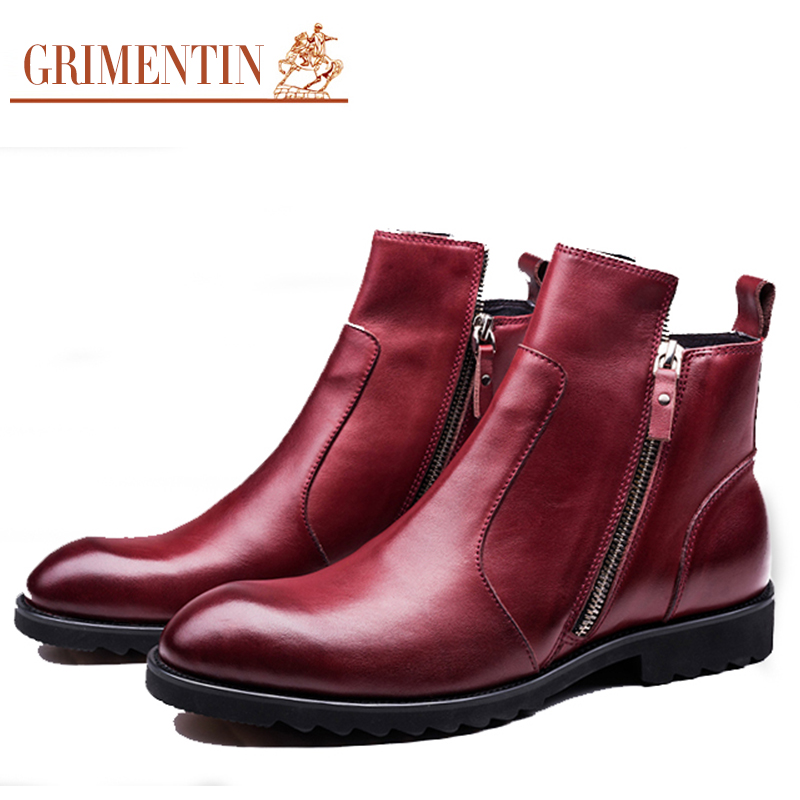 GRIMENTIN fashion Italy designer mens ankle boots genuine leather comfortable soft zip luxury classic men shoes for wedding O52(China (Mainland))