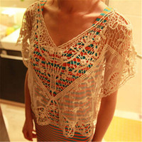 1Pc New Hot Sale Women Sweet Lace Flower Batwing Casual Blouse Shirt Top  AY651400