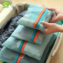 4pcs/Set Mesh Travel Bag Organizer Unisex Comestic Zipper Bag Mesh Travel Pouch Clothes Storage Bag(China (Mainland))