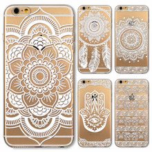 Phone Case Cover for iPhone 4 4s 5 5s 5c 6 6s 6Plus 6s Plus Soft Silicon Transparent Vintage White Datura Paisley Flower Covers