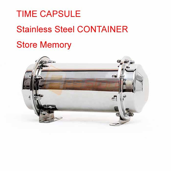 Free Shipping 26cm New Stainless Steel Time Capsule Waterproof Container/Storage Future Gift(China (Mainland))