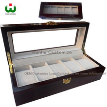 Luxury China Packaging TOP Boxes Supply 5 Grid Slot Leather Wrist Watch Box Display Case Organizer Jewelry Storage with Window